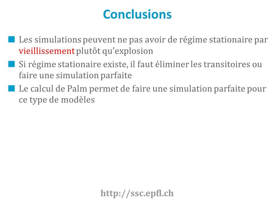 Conclusions Les simulations peuvent ne pas avoir de régime stationaire par vieillissement plutôt qu'explosion.