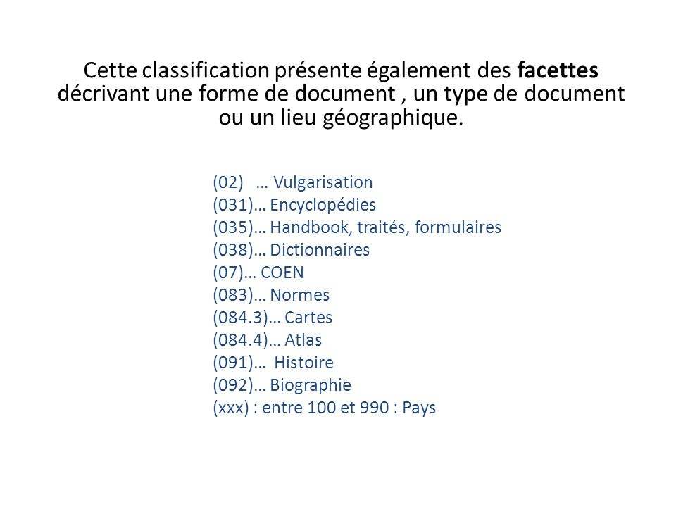 Cette classification présente également des facettes décrivant une forme de document , un type de document ou un lieu géographique.