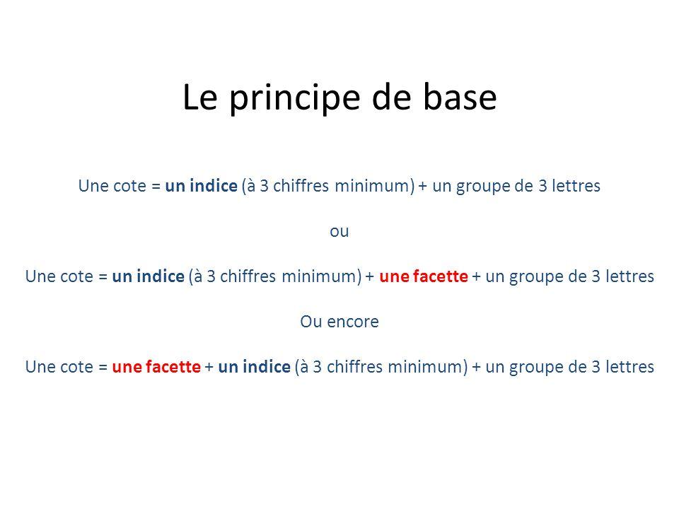 Une cote = un indice (à 3 chiffres minimum) + un groupe de 3 lettres