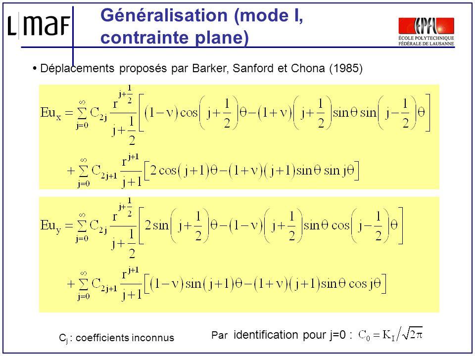 Généralisation (mode I, contrainte plane)