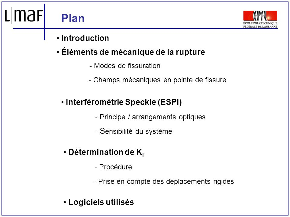 Plan Introduction Éléments de mécanique de la rupture