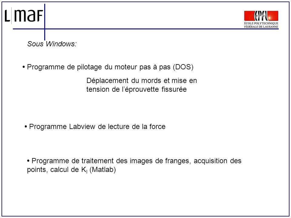 Sous Windows: • Programme de pilotage du moteur pas à pas (DOS) Déplacement du mords et mise en tension de l'éprouvette fissurée.