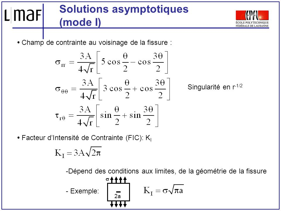 Solutions asymptotiques (mode I)
