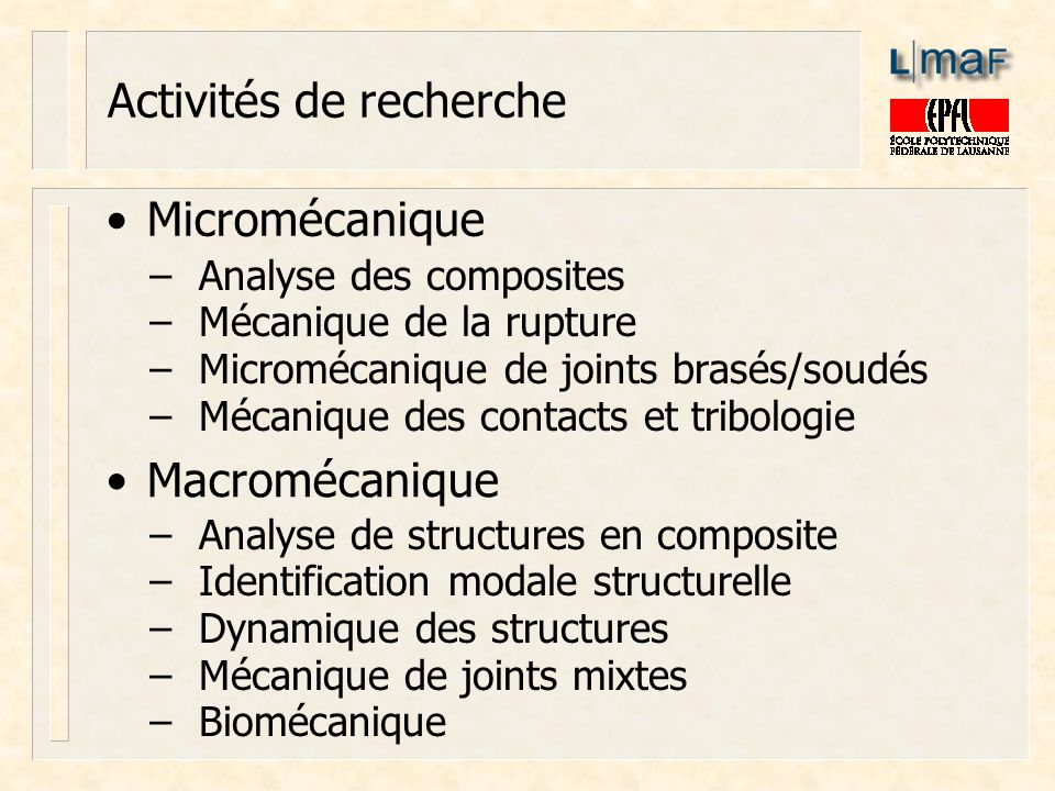 Activités de recherche