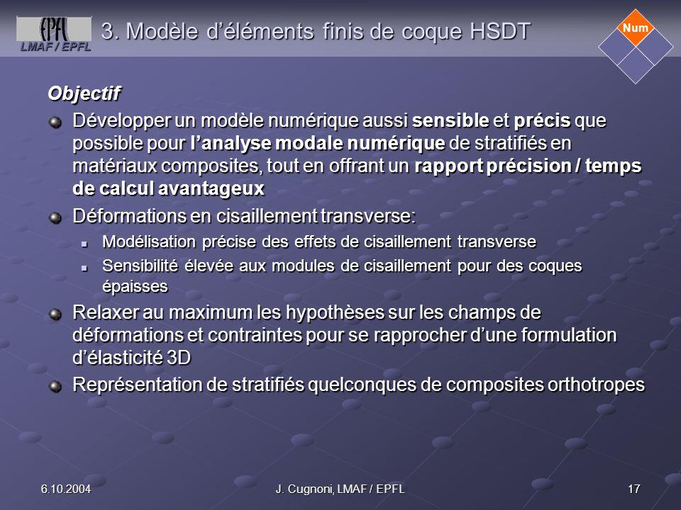 3. Modèle d'éléments finis de coque HSDT