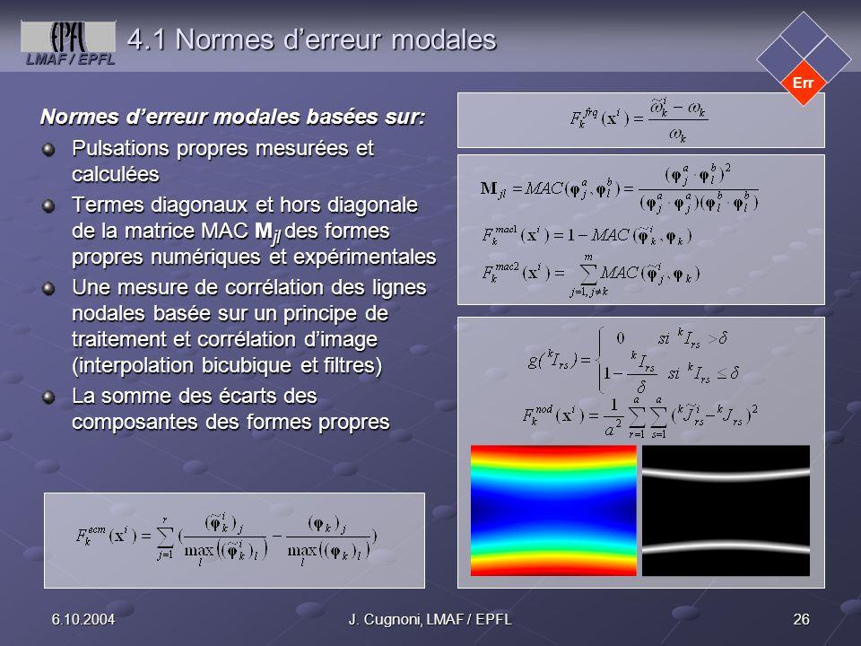 4.1 Normes d'erreur modales