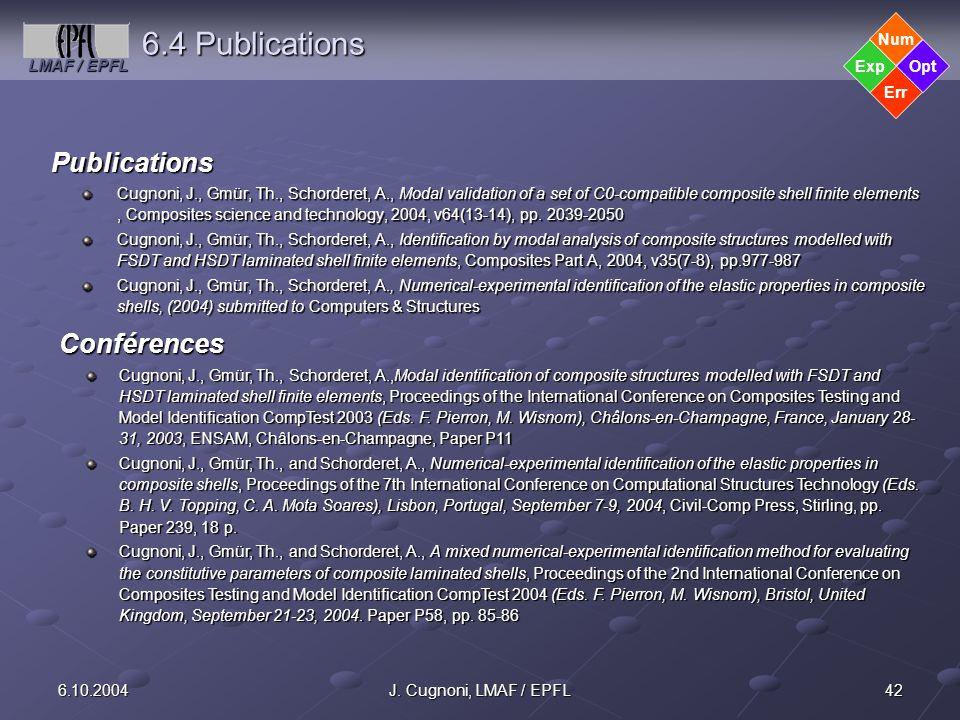 6.4 Publications Publications Conférences Err Opt Exp Num