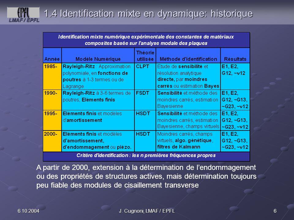 1.4 Identification mixte en dynamique: historique