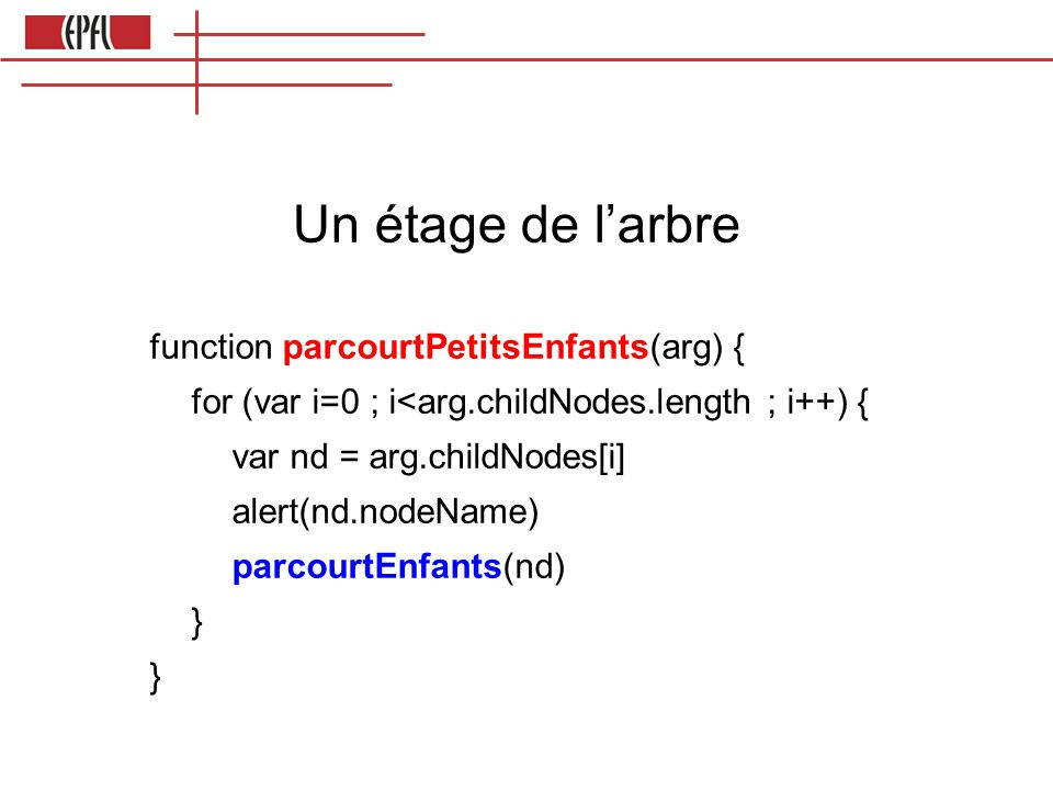 Un étage de l'arbre function parcourtPetitsEnfants(arg) {