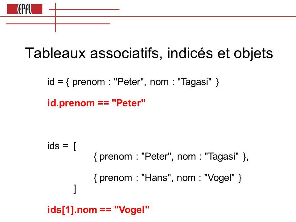 Tableaux associatifs, indicés et objets
