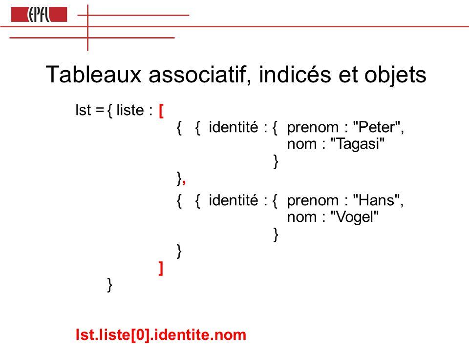 Tableaux associatif, indicés et objets