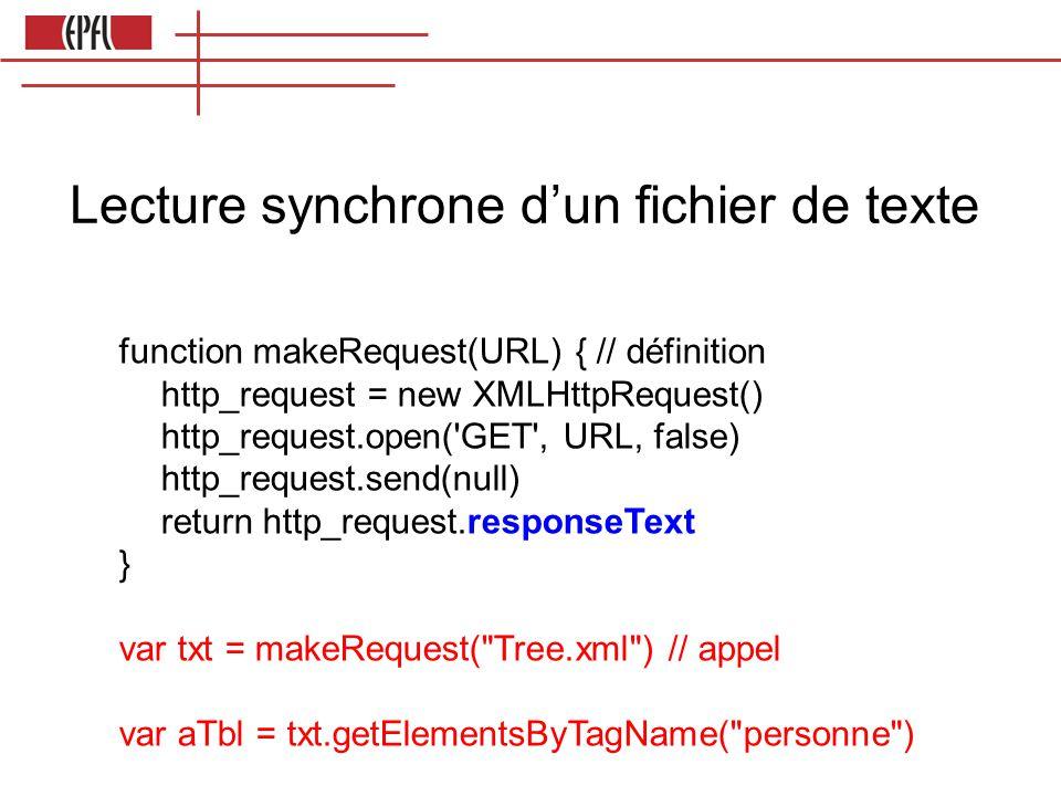 Lecture synchrone d'un fichier de texte