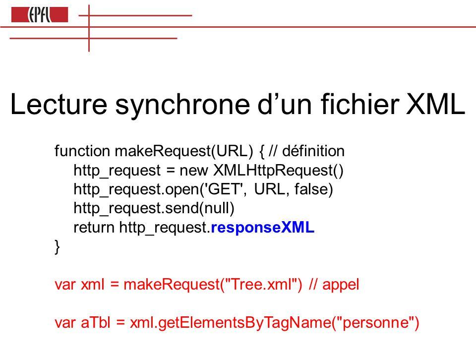 Lecture synchrone d'un fichier XML