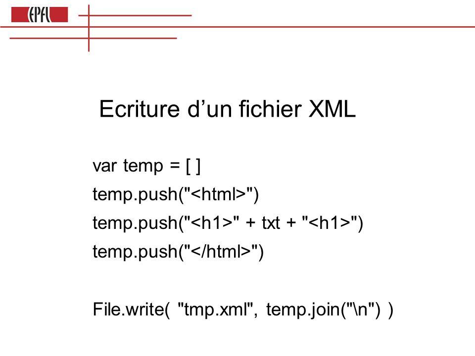 Ecriture d'un fichier XML