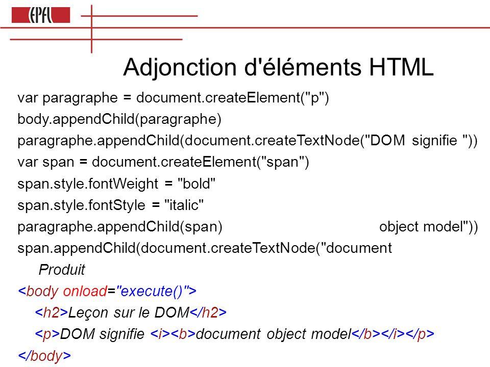 Adjonction d éléments HTML