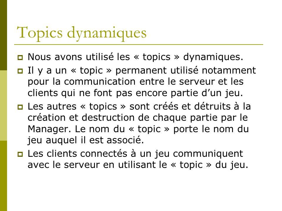 Topics dynamiques Nous avons utilisé les « topics » dynamiques.