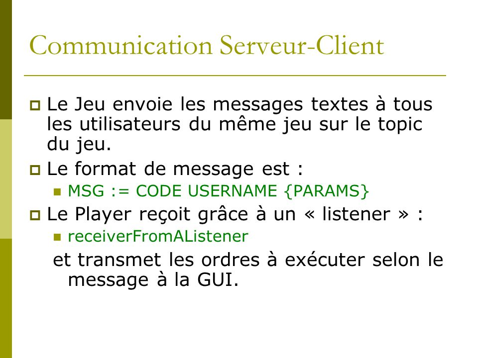 Communication Serveur-Client