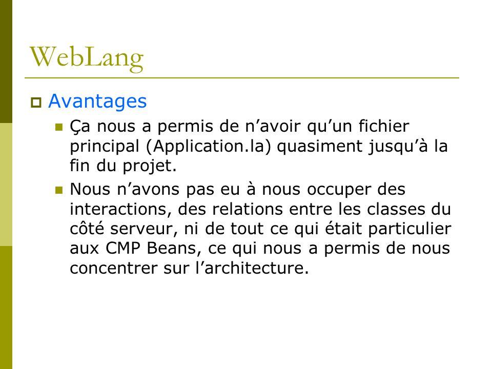 WebLang Avantages. Ça nous a permis de n'avoir qu'un fichier principal (Application.la) quasiment jusqu'à la fin du projet.