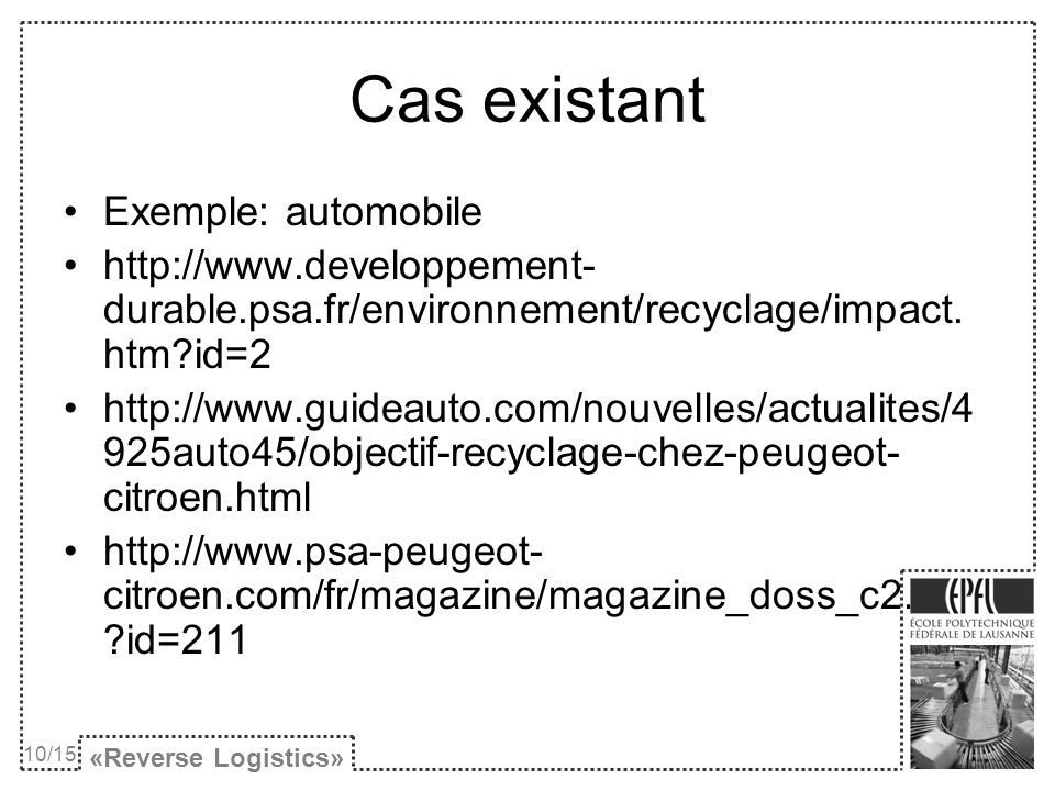 Cas existant Exemple: automobile