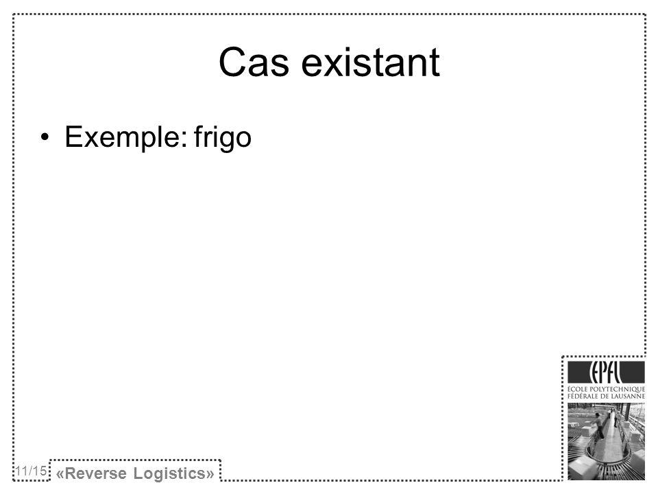 «Reverse Logistics» Cas existant Exemple: frigo 11/15