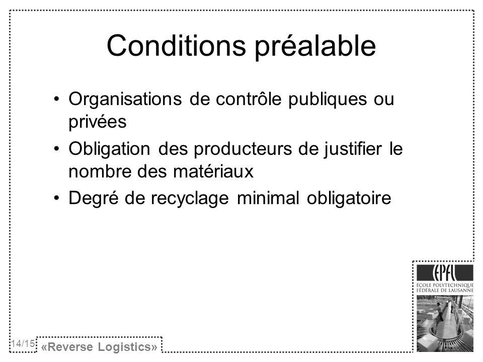 Conditions préalable Organisations de contrôle publiques ou privées