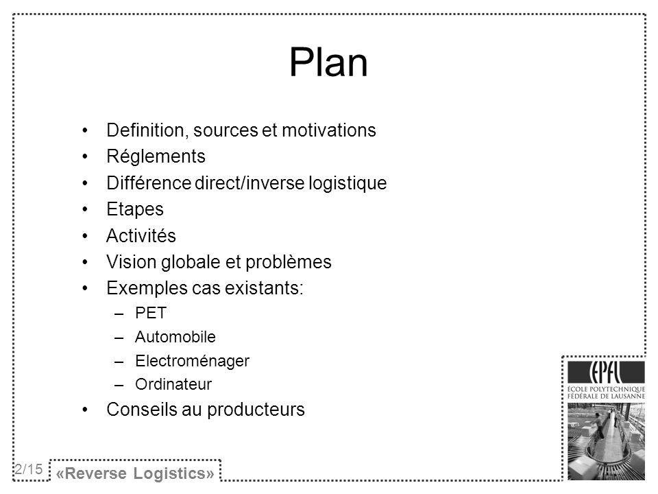 Plan Definition, sources et motivations Réglements