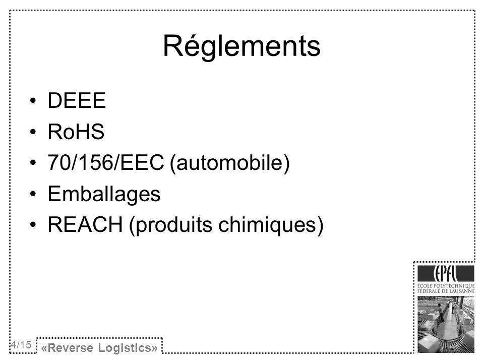 Réglements DEEE RoHS 70/156/EEC (automobile) Emballages