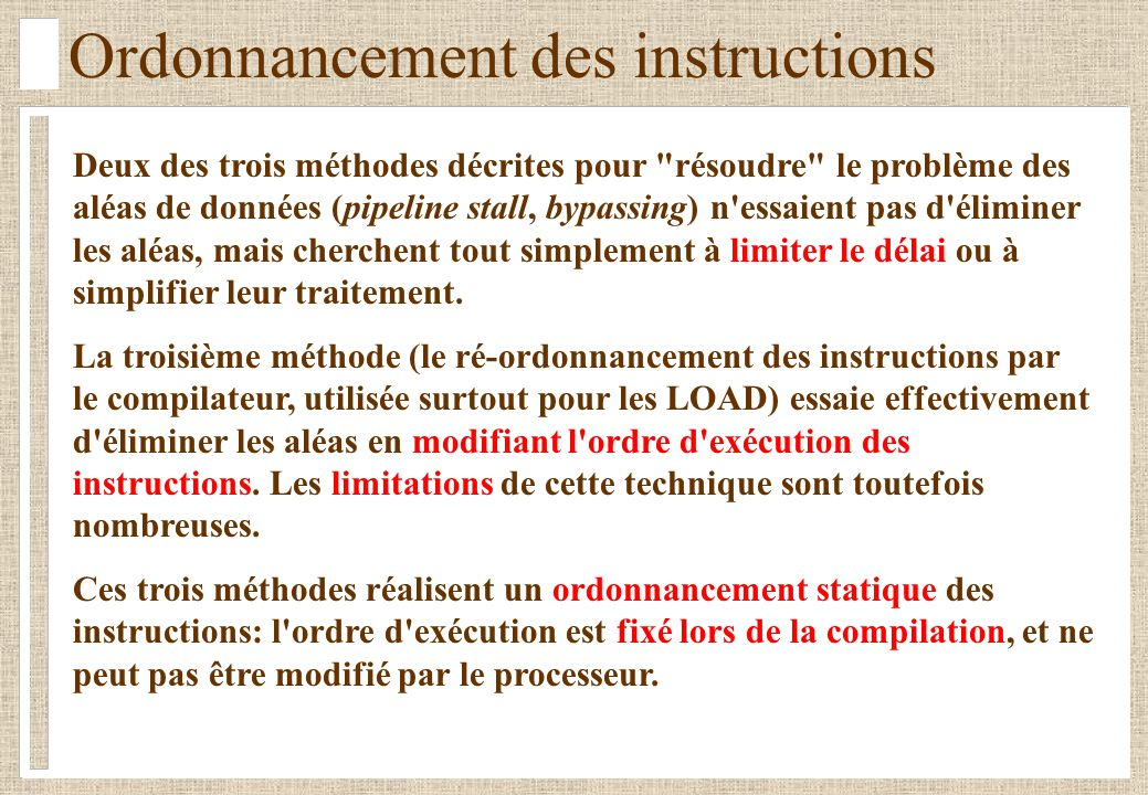 Ordonnancement des instructions
