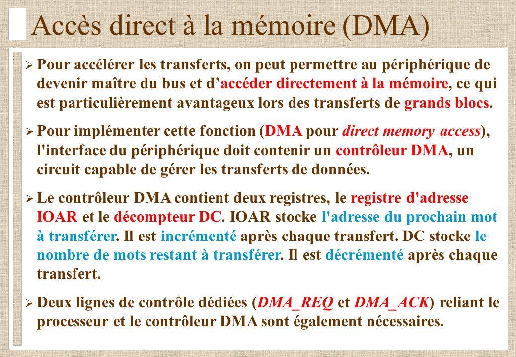 Accès direct à la mémoire (DMA)