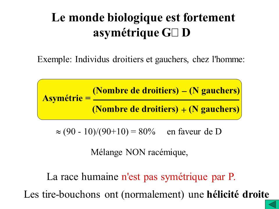 Le monde biologique est fortement asymétrique G´ D
