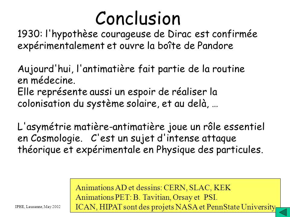 Conclusion 1930: l hypothèse courageuse de Dirac est confirmée