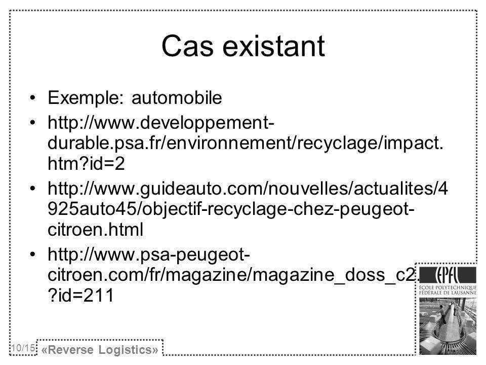 Cas existant Exemple: automobile