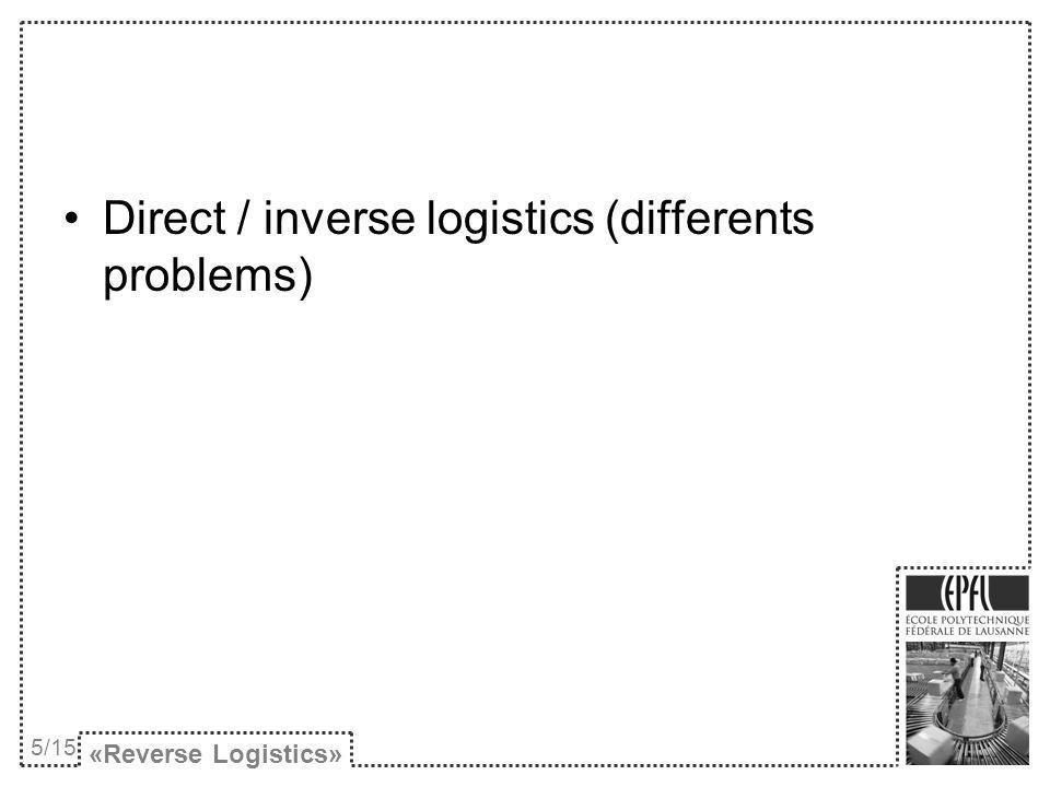 Direct / inverse logistics (differents problems)