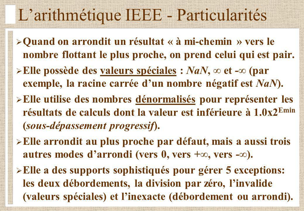 L'arithmétique IEEE - Particularités