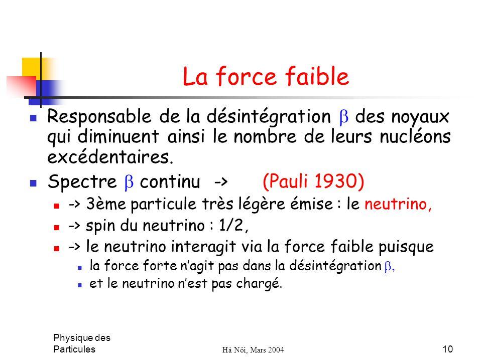 La force faible Responsable de la désintégration b des noyaux qui diminuent ainsi le nombre de leurs nucléons excédentaires.