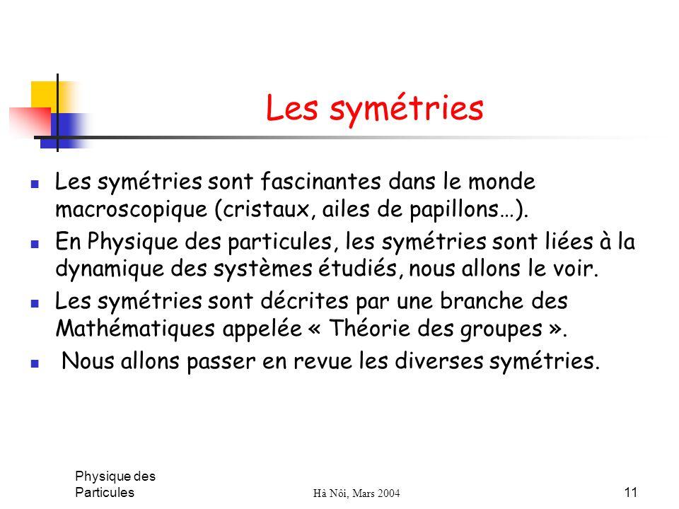 Les symétries Les symétries sont fascinantes dans le monde macroscopique (cristaux, ailes de papillons…).