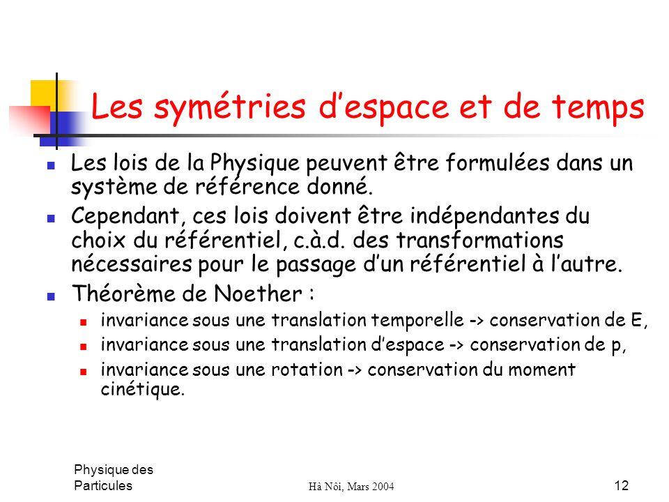 Les symétries d'espace et de temps