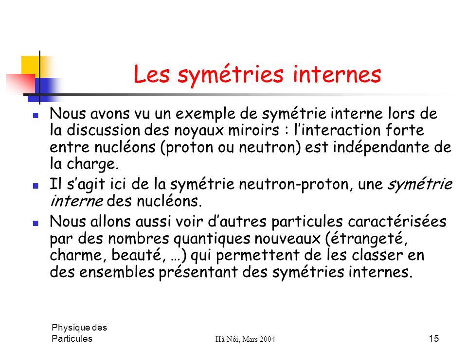 Les symétries internes