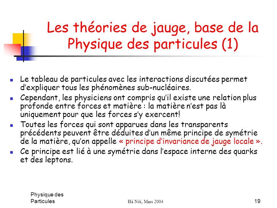 Les théories de jauge, base de la Physique des particules (1)