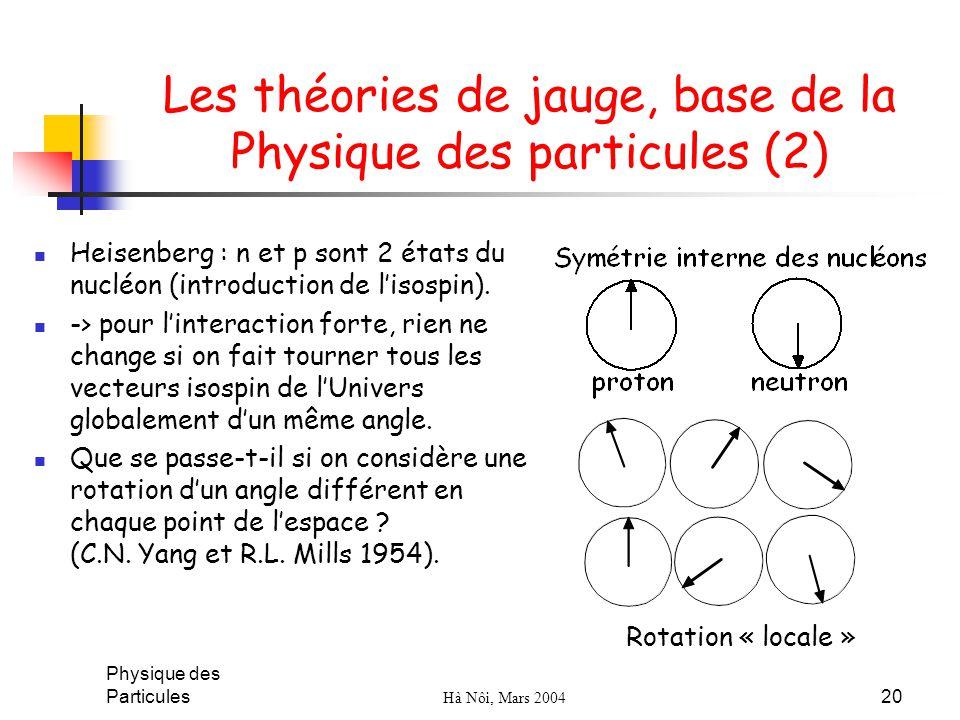Les théories de jauge, base de la Physique des particules (2)