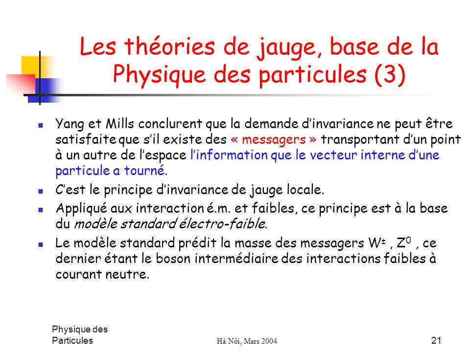 Les théories de jauge, base de la Physique des particules (3)