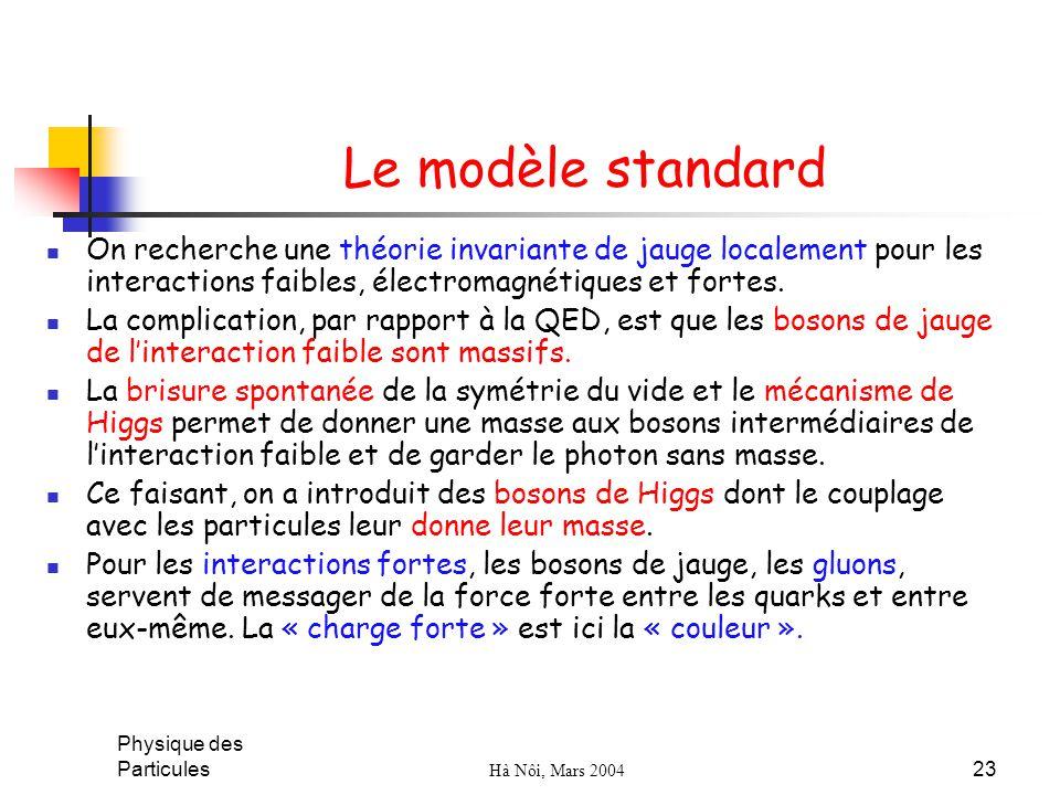 Le modèle standard On recherche une théorie invariante de jauge localement pour les interactions faibles, électromagnétiques et fortes.