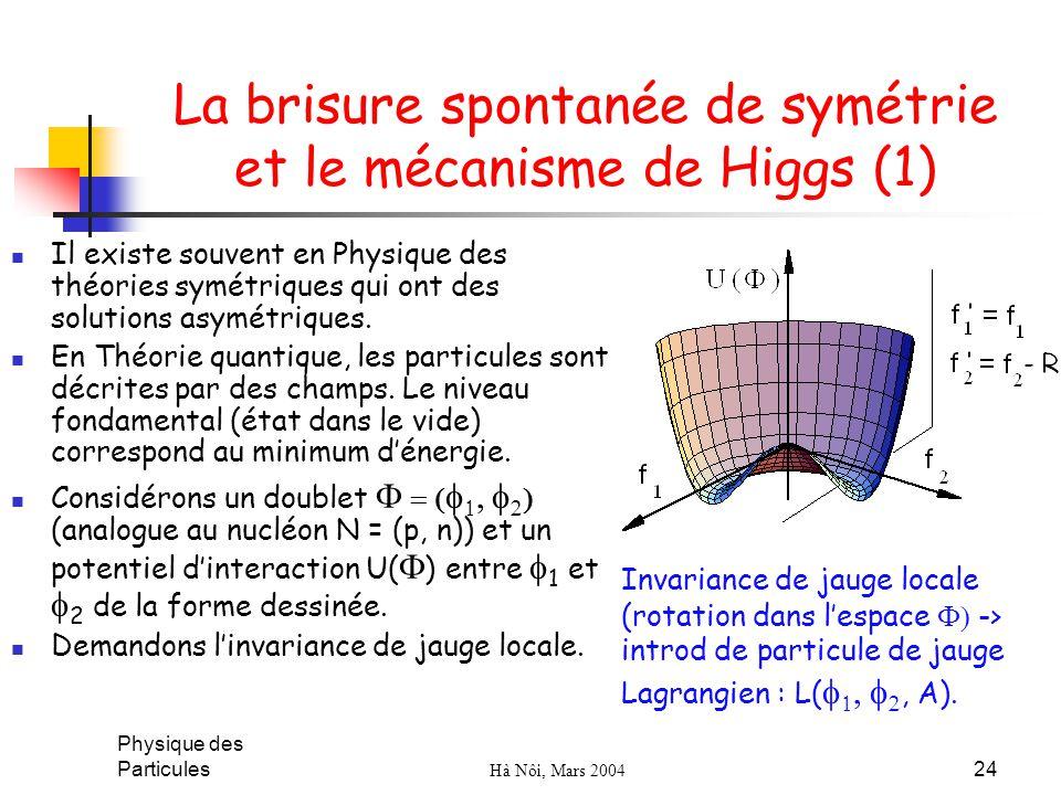 La brisure spontanée de symétrie et le mécanisme de Higgs (1)