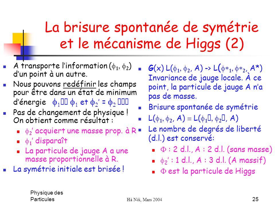 La brisure spontanée de symétrie et le mécanisme de Higgs (2)