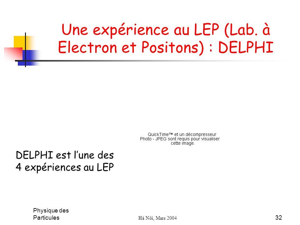 Une expérience au LEP (Lab. à Electron et Positons) : DELPHI