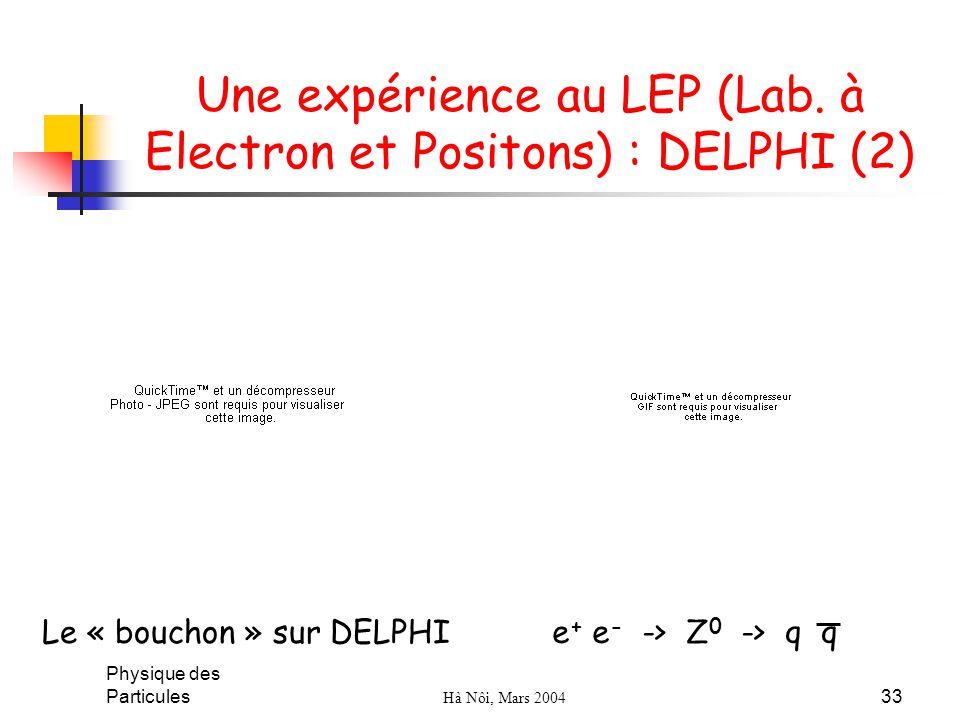 Une expérience au LEP (Lab. à Electron et Positons) : DELPHI (2)