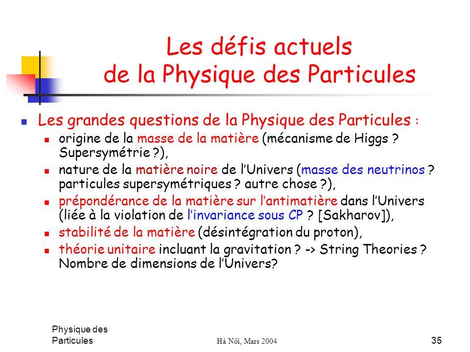 Les défis actuels de la Physique des Particules