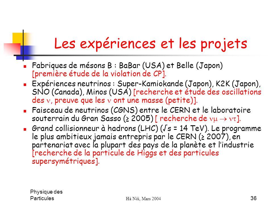 Les expériences et les projets