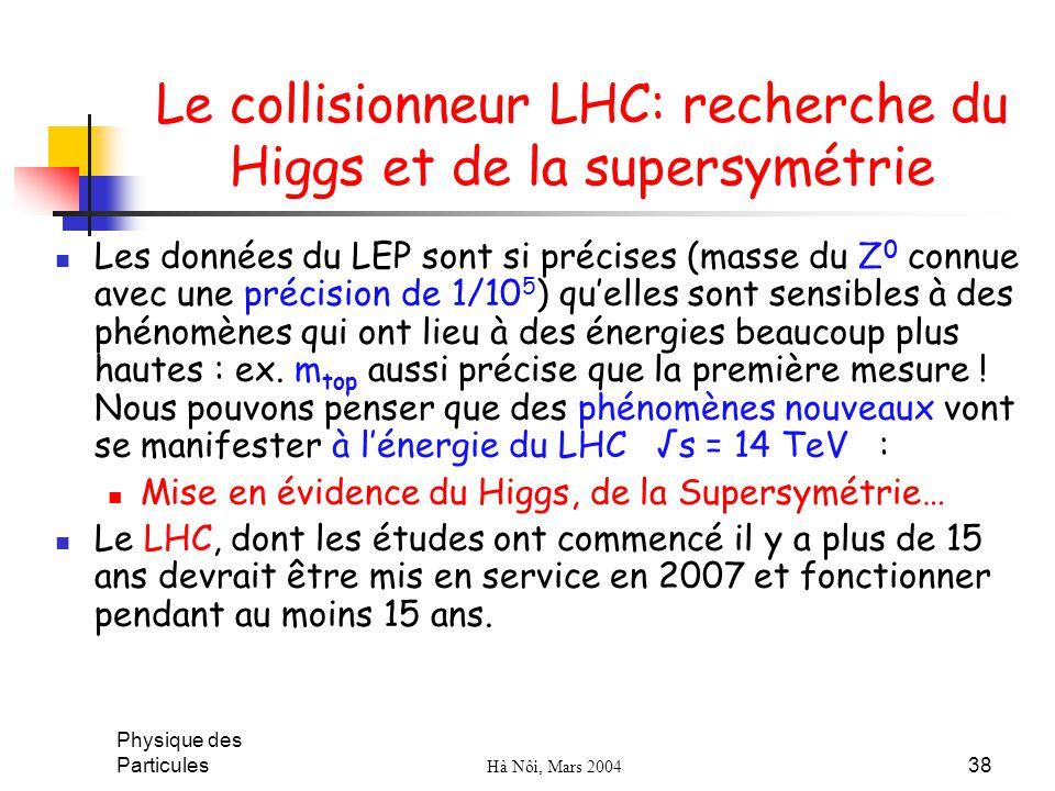 Le collisionneur LHC: recherche du Higgs et de la supersymétrie