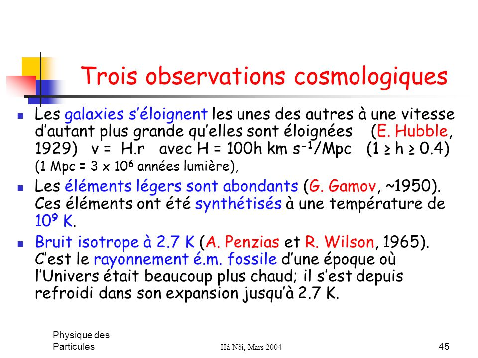 Trois observations cosmologiques